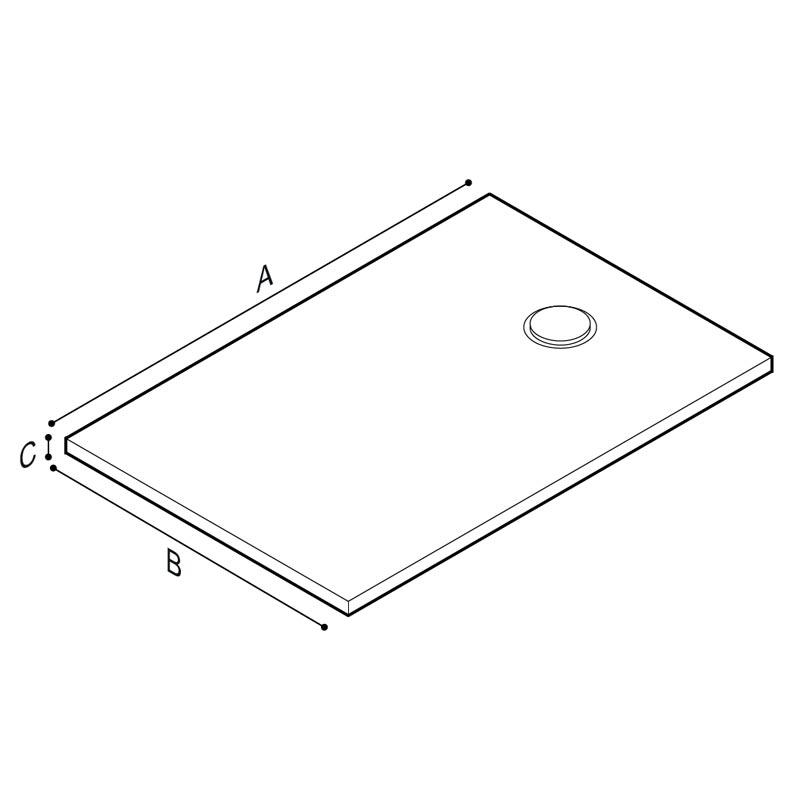 Disegno Piatto doccia rettangolare, con superficie punteggiata a rilievo Disegno Tecnico B48CPM03