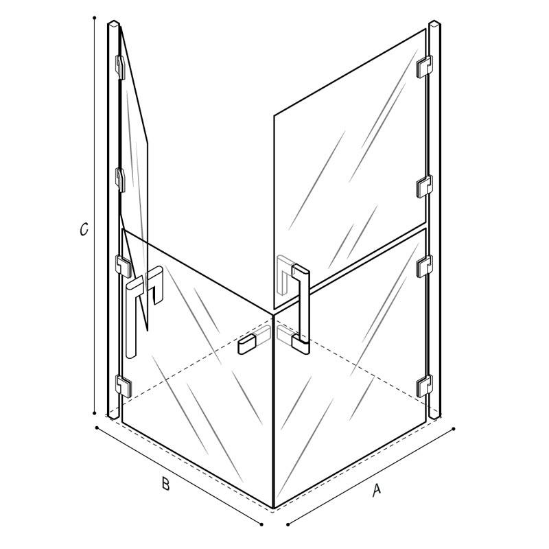 Disegno Box doccia con ante sdoppiate 90x90 cm. Disegno Tecnico C53FBS21