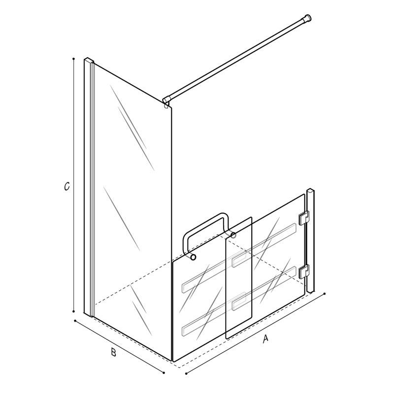 Disegno Box doccia con pannello fisso, anta con pannello scorrevole basso Disegno Tecnico C53FBR23