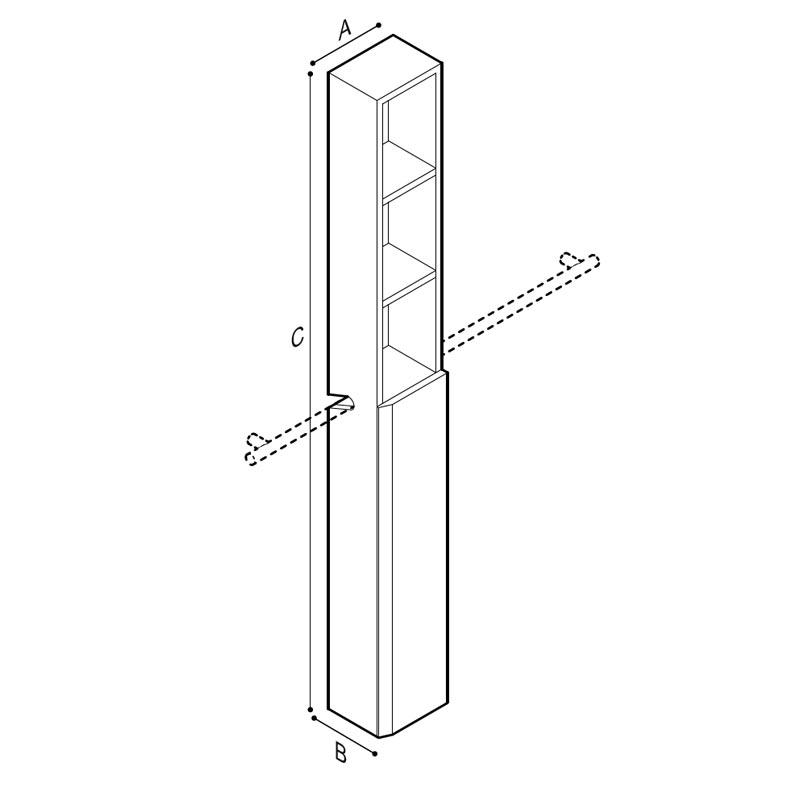 Disegno Mobile contenitore con mensole da agganciare su sostegno orizzontale Disegno Tecnico F47APS07