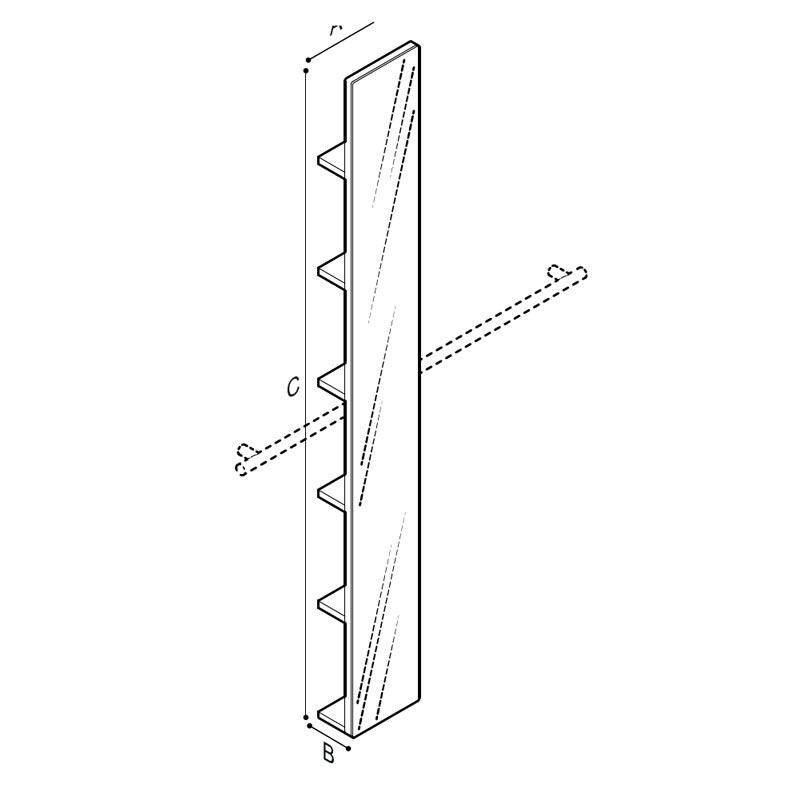 Disegno Specchiera con mensole da agganciare su sostegno orizzontale Disegno Tecnico F47ATS17