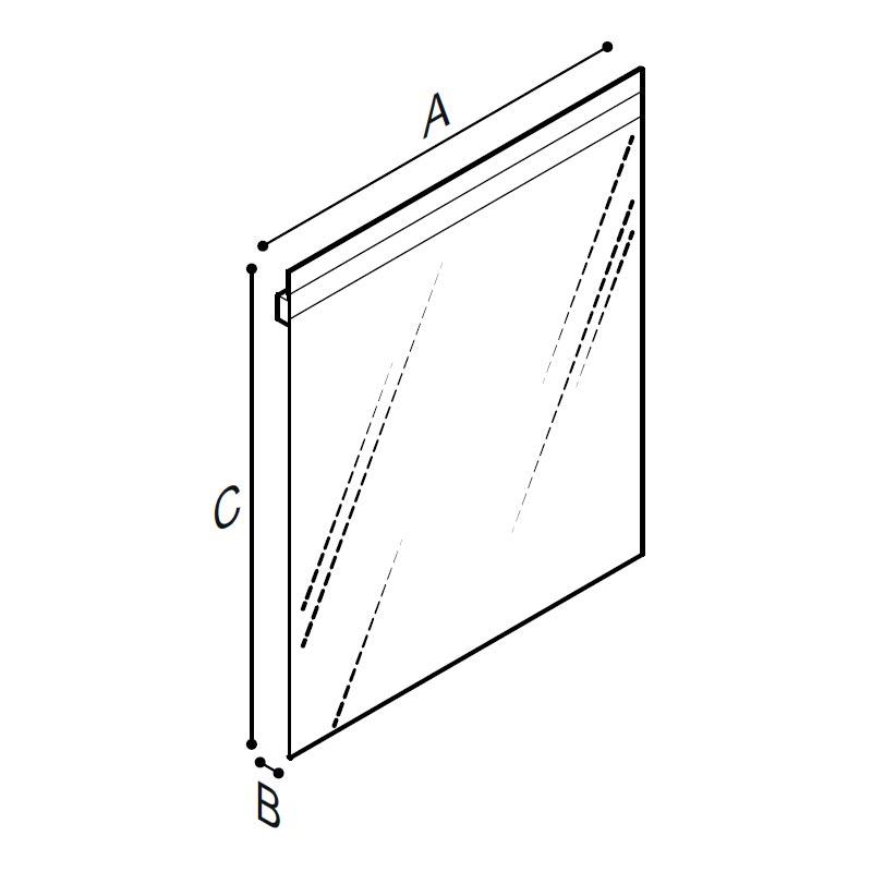Disegno Specchio inclinabile, spessore 5 mm., con sistema di illuminazione LED Disegno Tecnico F47JPS03
