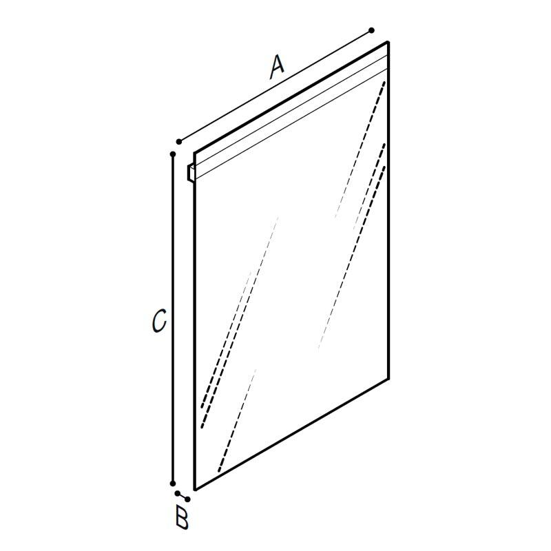 Disegno Specchio fisso, spessore 5 mm., con sistema di illuminazione LED Disegno Tecnico F47ATS18