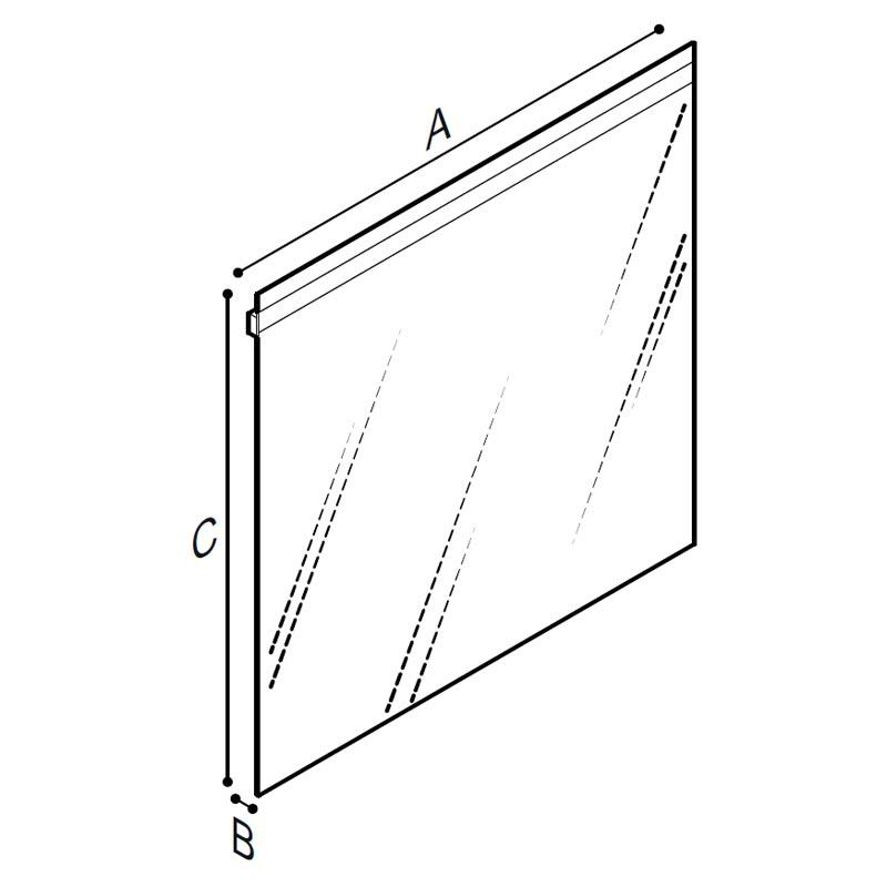 Disegno Specchio fisso, spessore 5 mm., con sistema di illuminazione LED Disegno Tecnico F47ATS19