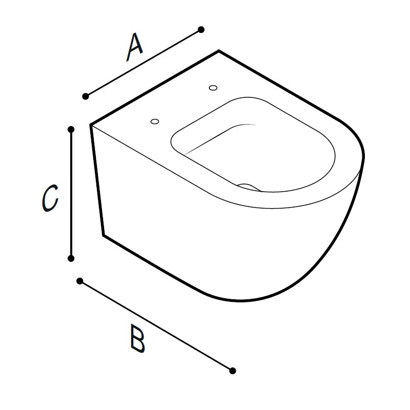 Disegno Vaso sanitario, senza brida sospeso Disegno Tecnico B43CAS03