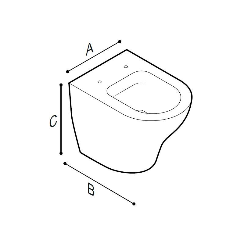 Disegno Vaso sanitario, senza brida Disegno Tecnico B43CBS02