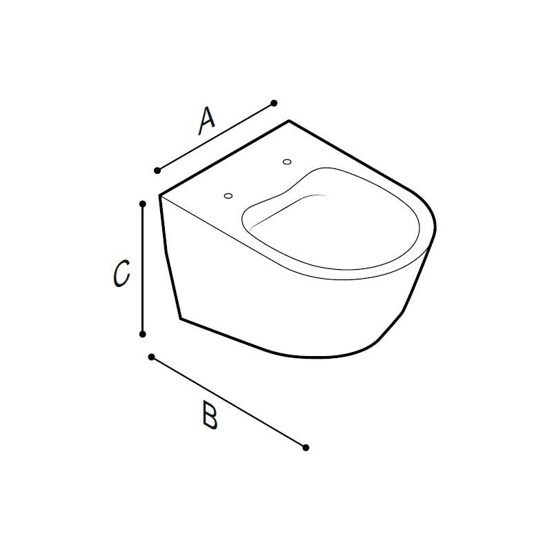 Disegno Vaso sanitario, senza brida, sospeso Disegno Tecnico B43CAS04