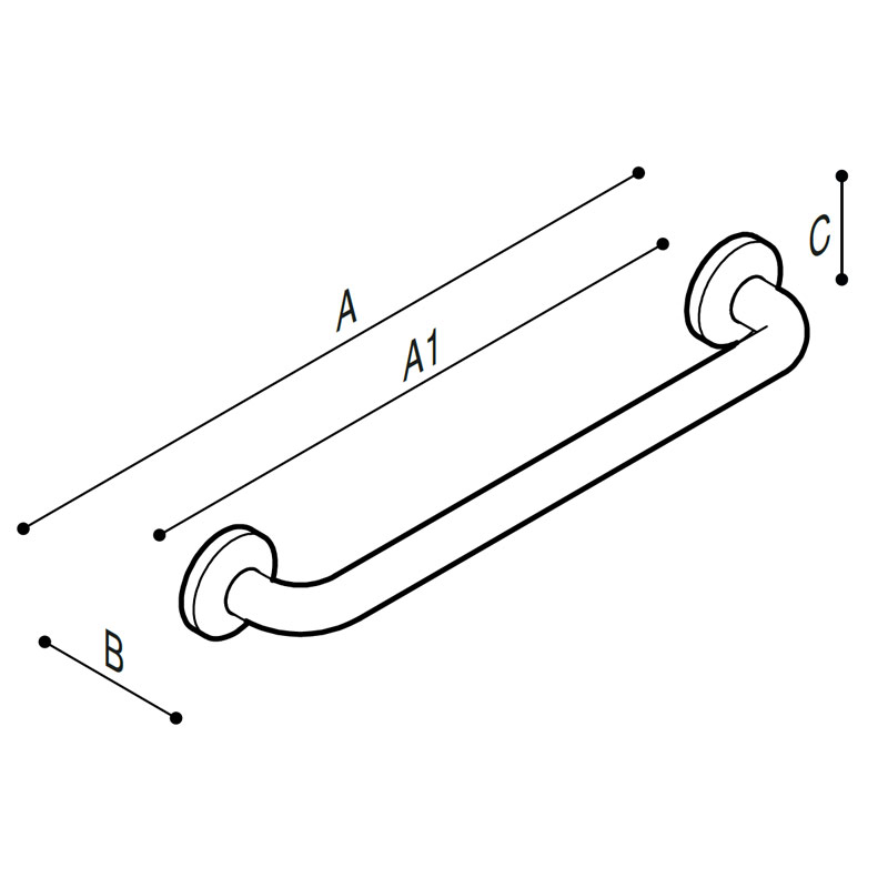 Draw Safety grab bar, straight  Technical Drawing G06JAS01