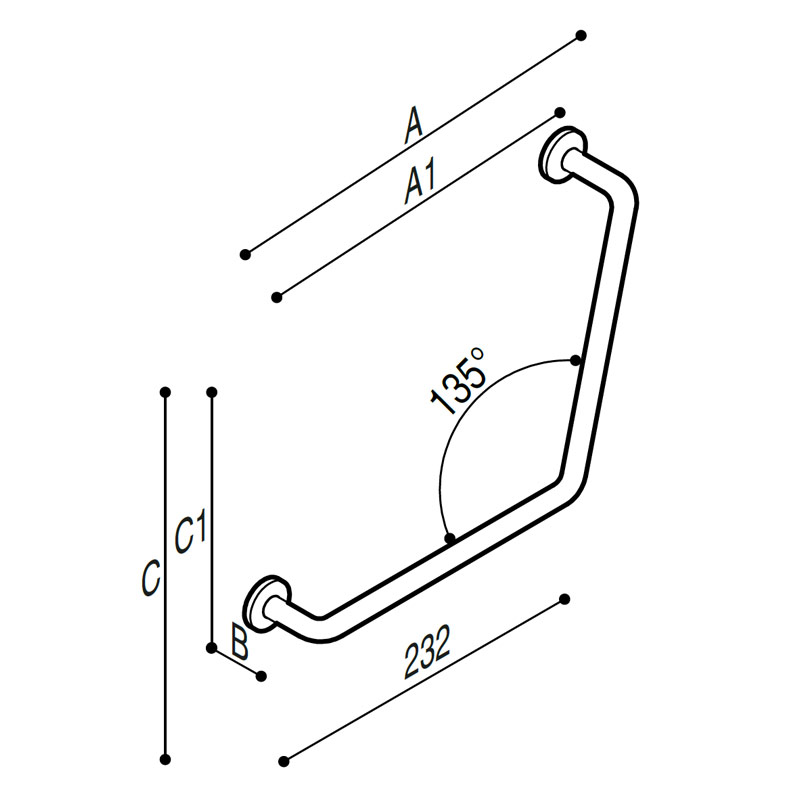 Draw Safety grab bar, corner, 135° Technical Drawing G06JAS08