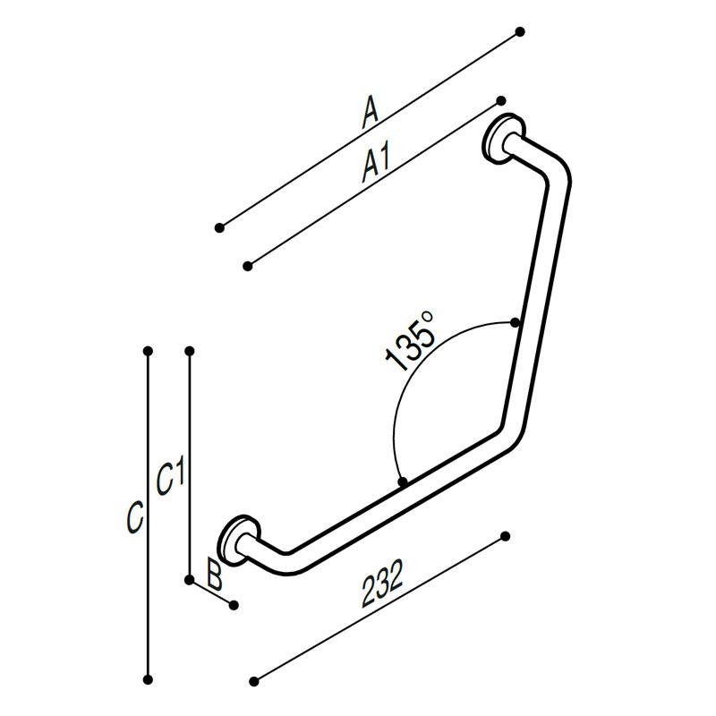 Disegno Sostegno di sicurezza a 135° Disegno Tecnico G06JAS08