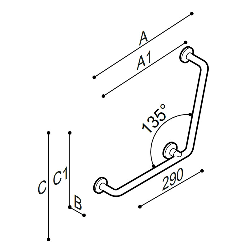 Draw Safety corner grab bar 135°, equipped with a third wall fixing kit Technical Drawing G06JAS09