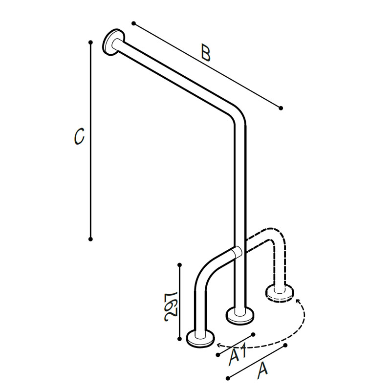 Draw Side fixed safety grab bar Technical Drawing G06JCS38