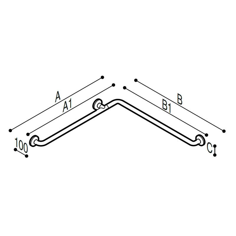 Draw Safety grab bar, corner Technical Drawing G06JBS01