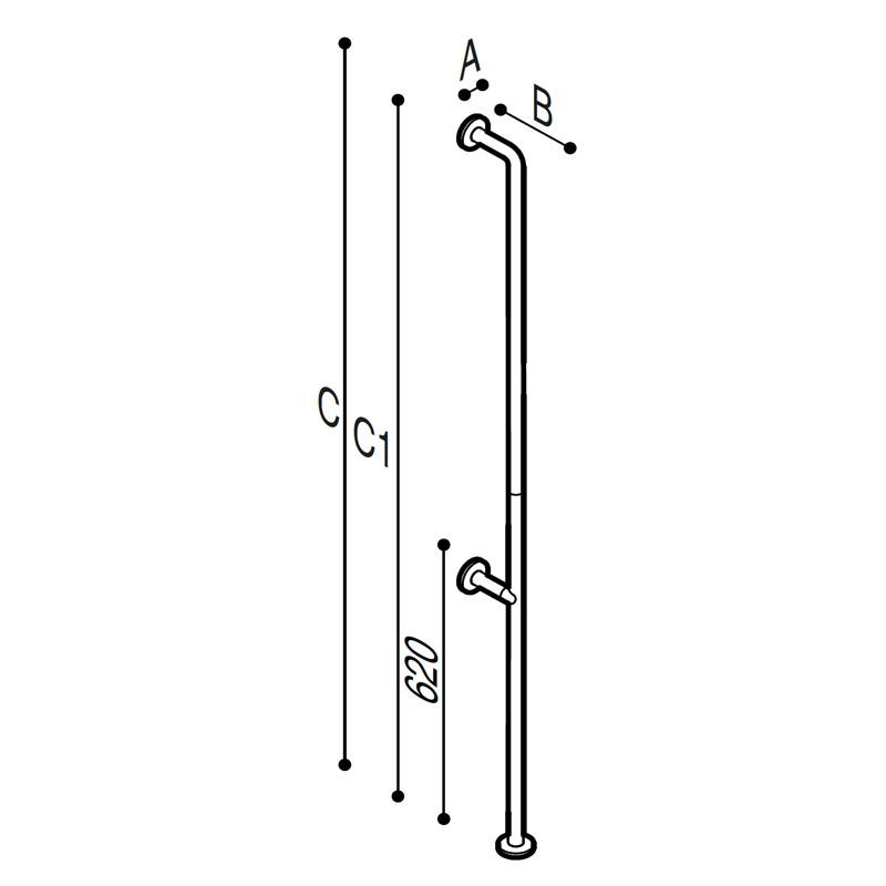 Disegno Maniglione di sicurezza verticale da pavimento a parete Disegno Tecnico G06JAS12
