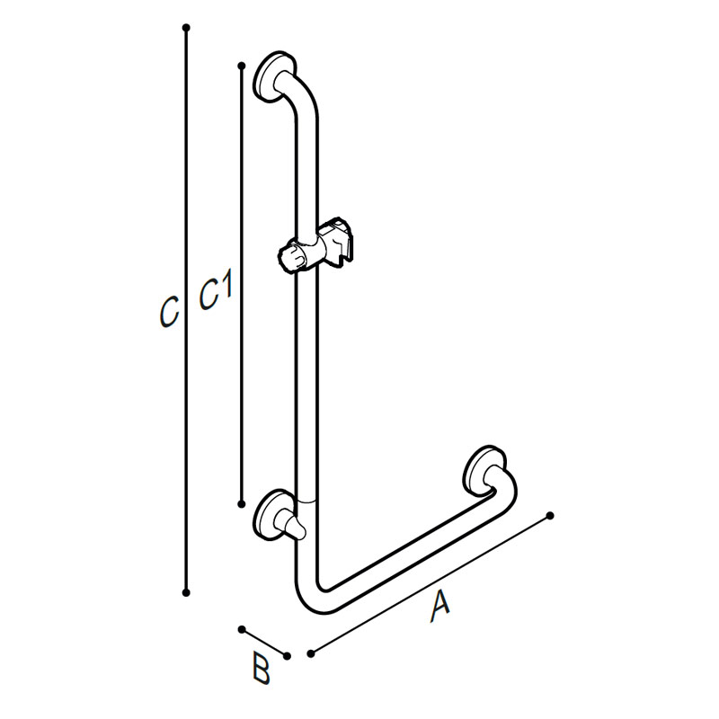 Draw Safety shower gra bar 90° corner, equipped with adjustable hand shower holder Technical Drawing G06JOL01
