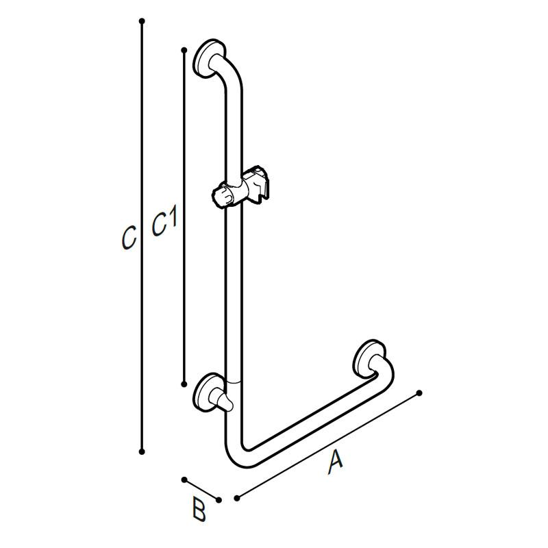 """Disegno Sostegno di sicurezza ad """"L"""", munito di porta doccetta Disegno Tecnico G06JOL01"""