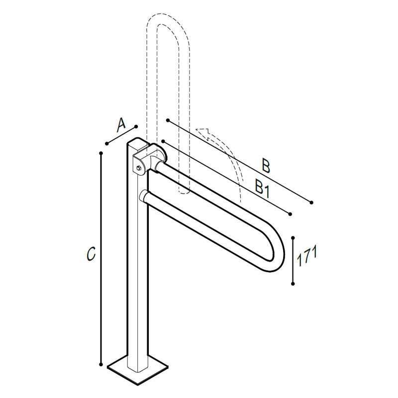 Draw Safety grab bar, folding, on floor pedestal Technical Drawing G06JCS52