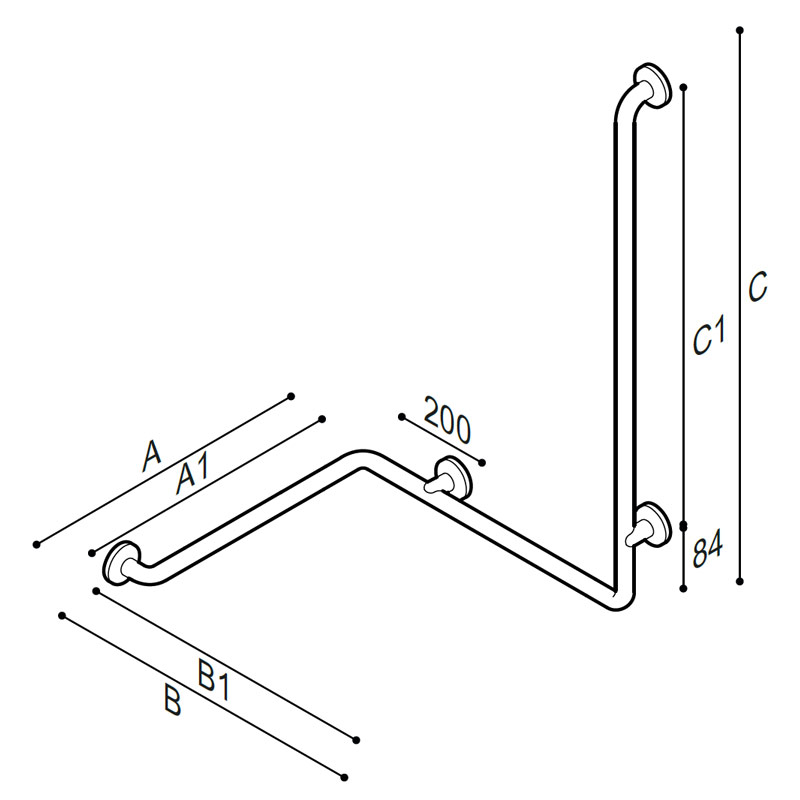 Draw Safety grab bar, corner, with upright Technical Drawing G06JBR06