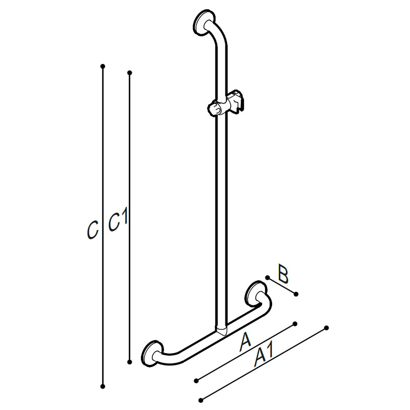 Draw T-shaped safety handrail, equipped with adjustable hand shower holder Technical Drawing G06JBS16