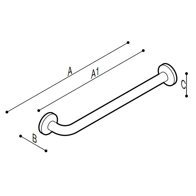 Disegno Maniglione di sicurezza lineare con terminale dritto e uno a 90° Disegno Tecnico G01JAS32