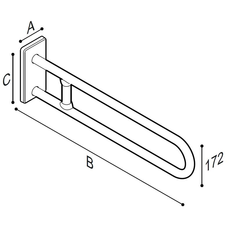 Disegno Sostegno laterale fisso con rinforzo Disegno Tecnico G41JCS45