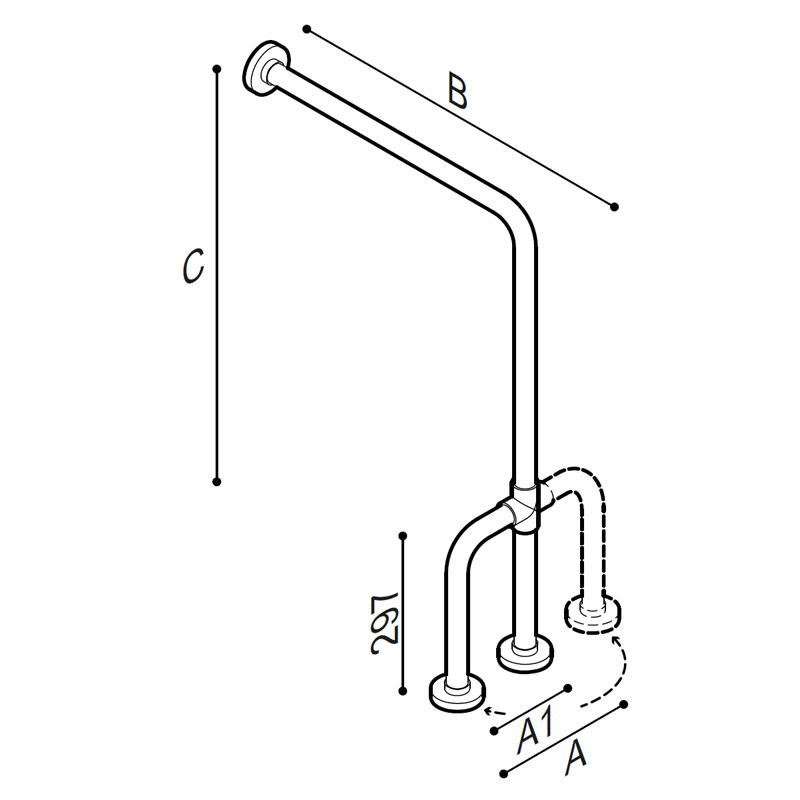 Draw Safety grab bar, wall to floor Technical Drawing G01JCS38