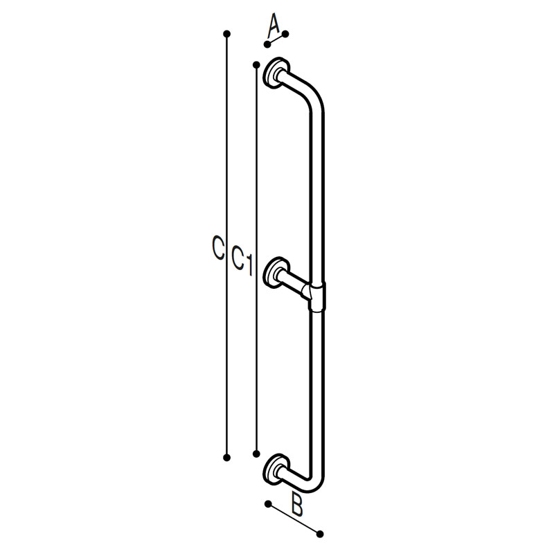 Draw Safety grab bar, floor to wall Technical Drawing G01JAS12