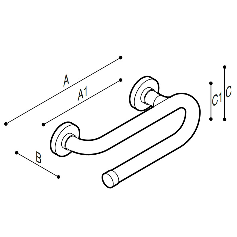 Draw Safety grab bar, paper towel holder Technical Drawing G01JER01