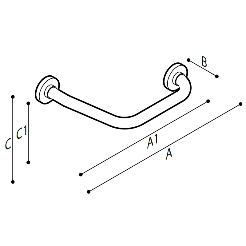Draw Safety grab bar, corner, 135° Technical Drawing G01JAS08