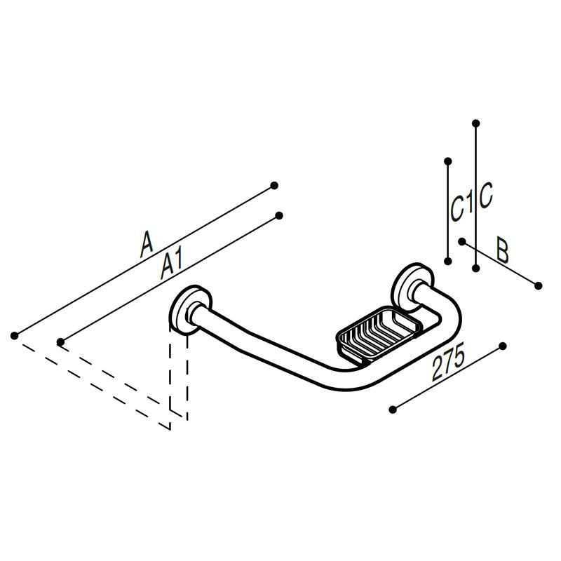 Disegno Sostegno di sicurezza ad angolo 135° con porta spugna Disegno Tecnico G01JER07