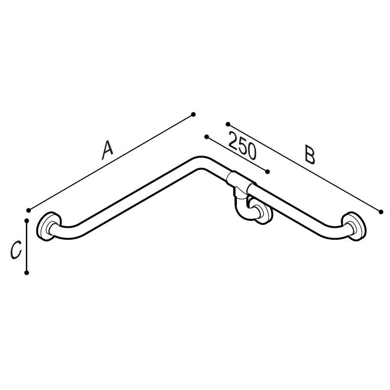 Disegno Corrimano di sicurezza per angolo con presa continua a misura Disegno Tecnico G01JBS18