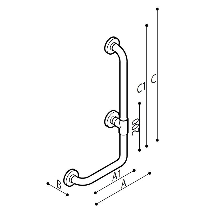 Draw Safety grab bar, corner, 90° Technical Drawing G01JBR19