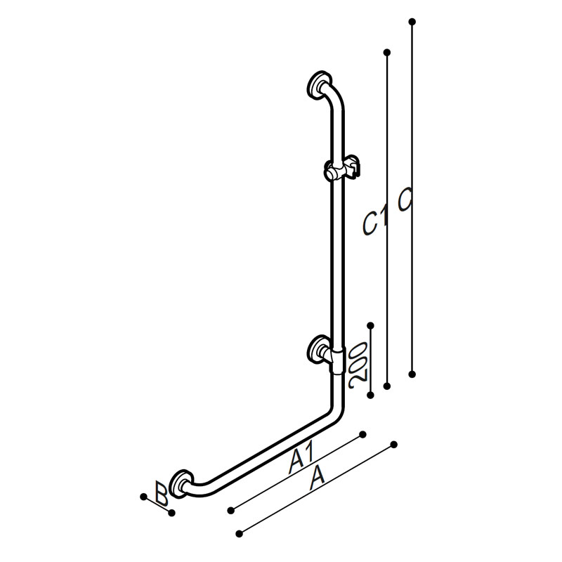 Draw Safety grab bar, corner, 90°, with shower head holder Technical Drawing G01JOR01