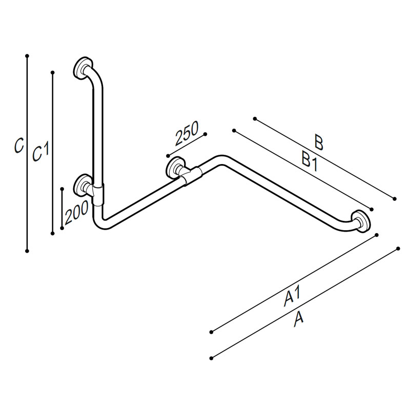 Draw Safety grab bar, corner, with upright Technical Drawing G01JBS06