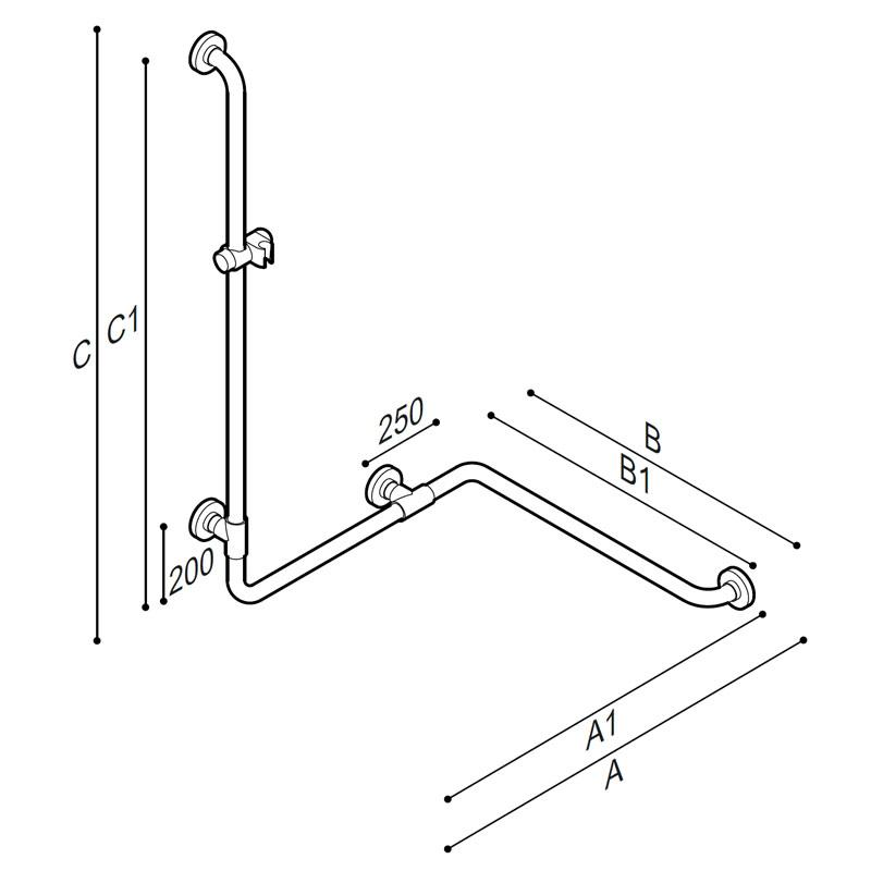 Disegno Sostegno di sicurezza per angolo con montante, munito di attacco per doccetta Disegno Tecnico G01JOS06