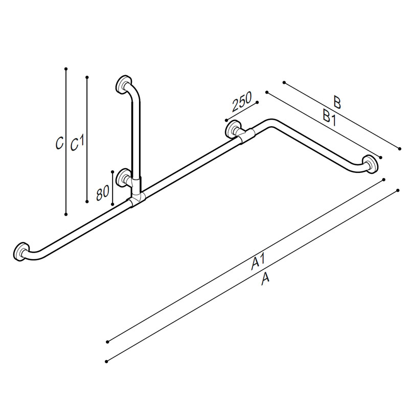 Draw Corner and vertical grab bar Technical Drawing G01JBS11