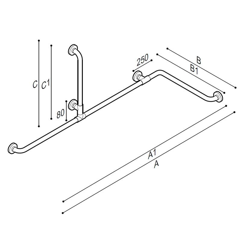 Draw Corner and vertical grab bar Technical Drawing G01JBS11