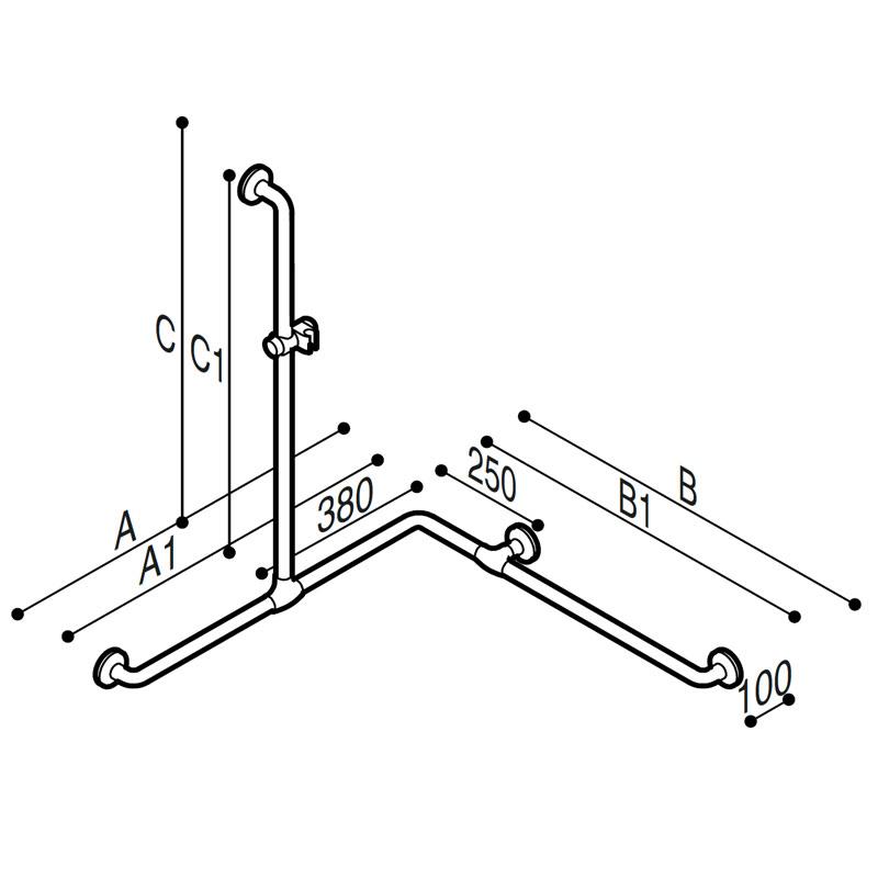 Disegno Sostegno di sicurezza per angolo con montante, munito di attacco per doccetta Disegno Tecnico G01JOS04