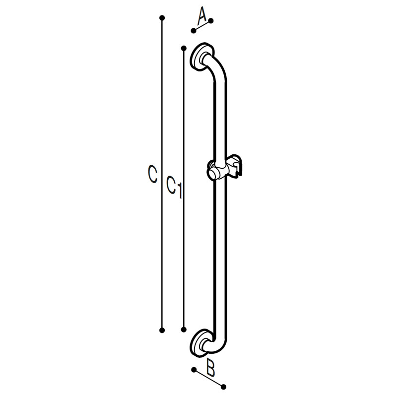 Draw Safety grab bar with shower holder Technical Drawing G01JOS01