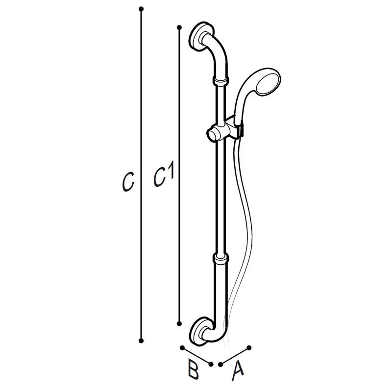 Disegno Maniglione di sicurezza verticale con porta doccetta Disegno Tecnico G01JOS02
