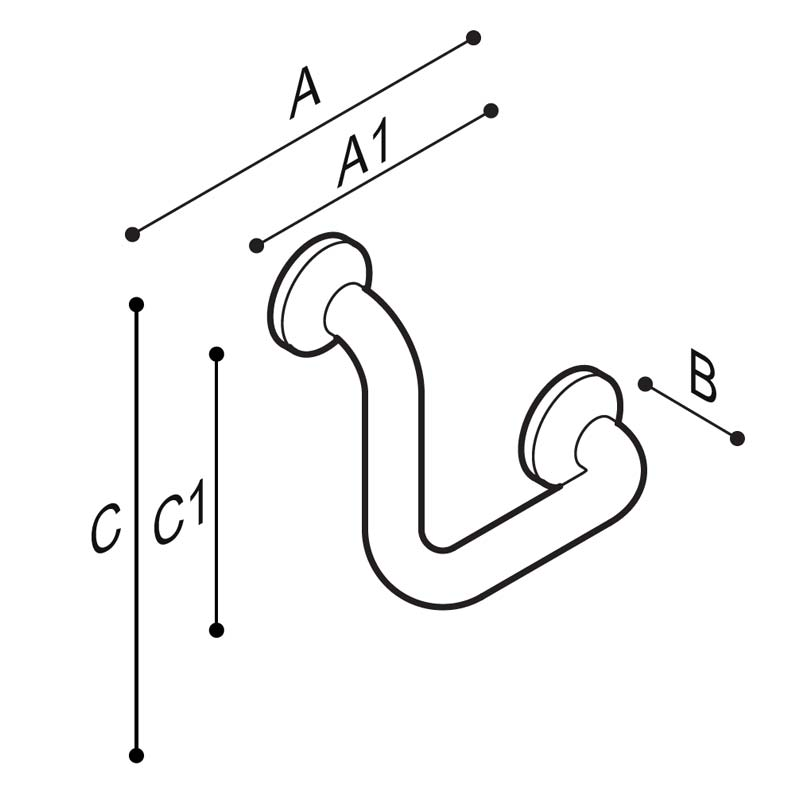 Draw Safety corner grab rail 90° Technical Drawing G27JAS22