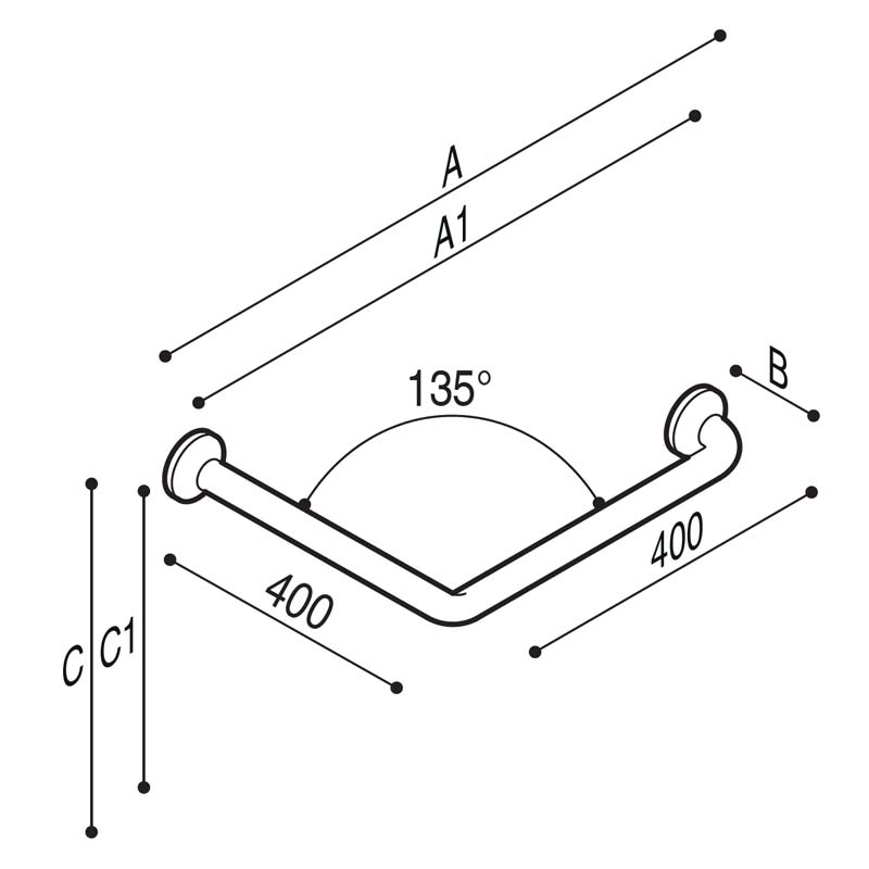 Draw Safety corner grab rail 135° Technical Drawing G27JAS21