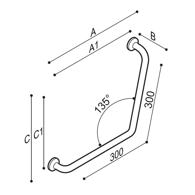 Draw Safety corner grab rail 135° Technical Drawing G27JAS08