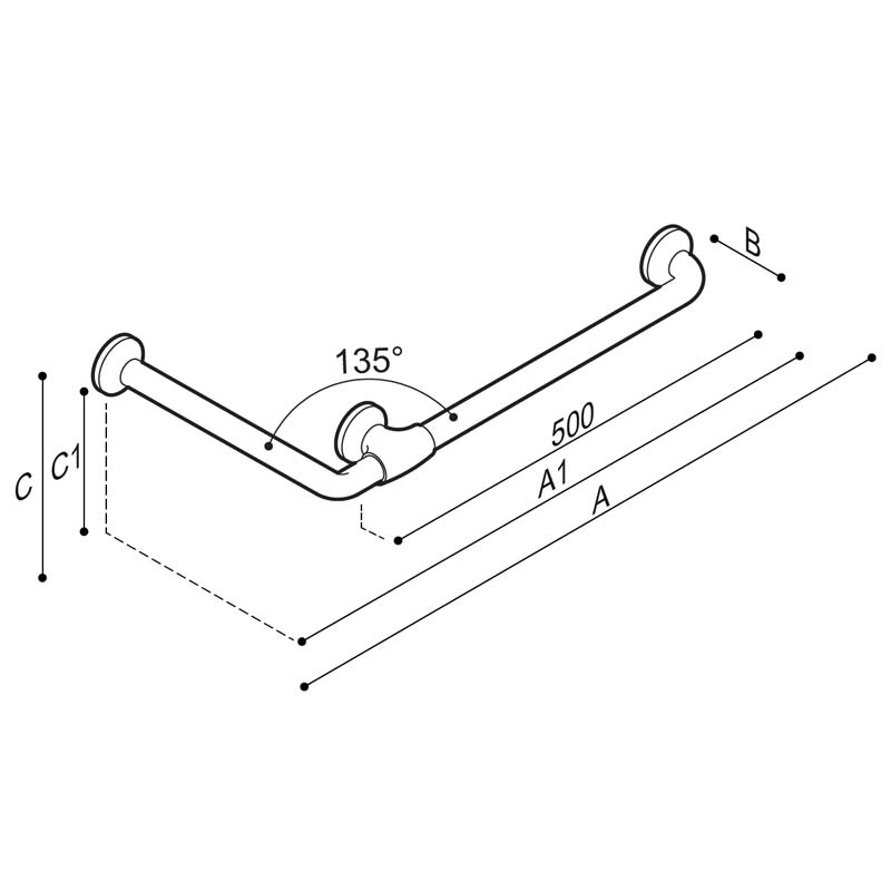 Draw Safety corner grab rail 135° Technical Drawing G27JAL23