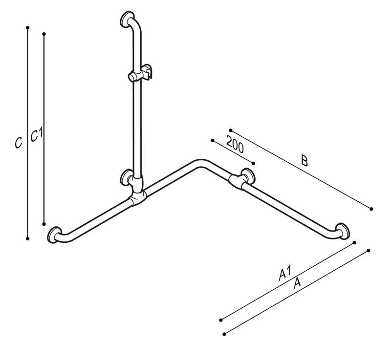 Disegno Sostegno di sicurezza per angolo con montante munito di attacco per doccetta Disegno Tecnico G27JOS28