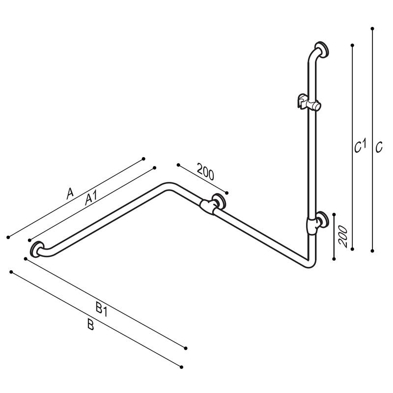 Disegno Sostegno di sicurezza per angolo, con attacco per doccetta Disegno Tecnico G27JOS29