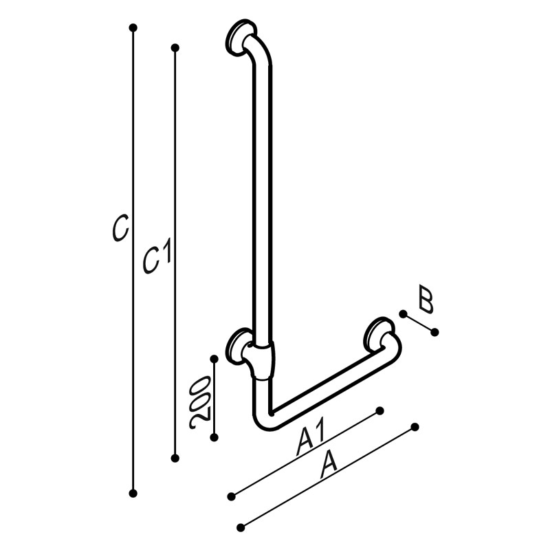 Draw Safety corner grab rail 90° Technical Drawing G27JBL19