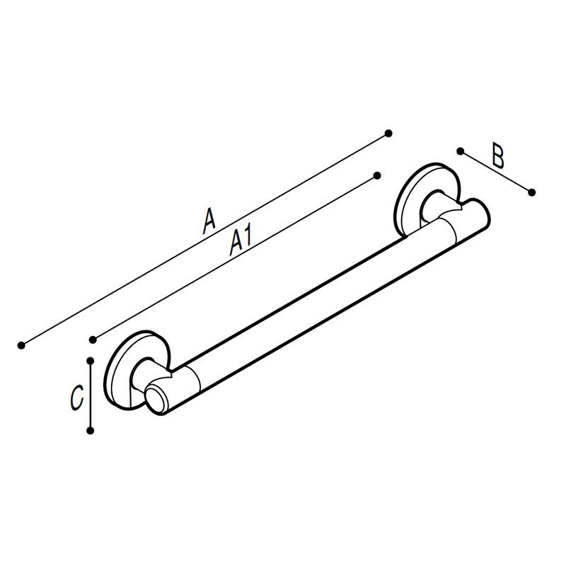 Disegno Maniglione di sicurezza lineare Disegno Tecnico G18UAS11