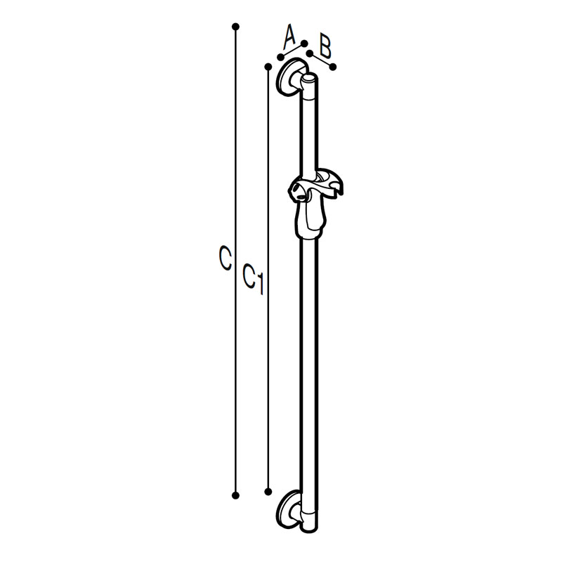 Draw Vertical grab rail with shower head holder Technical Drawing G18UOS01