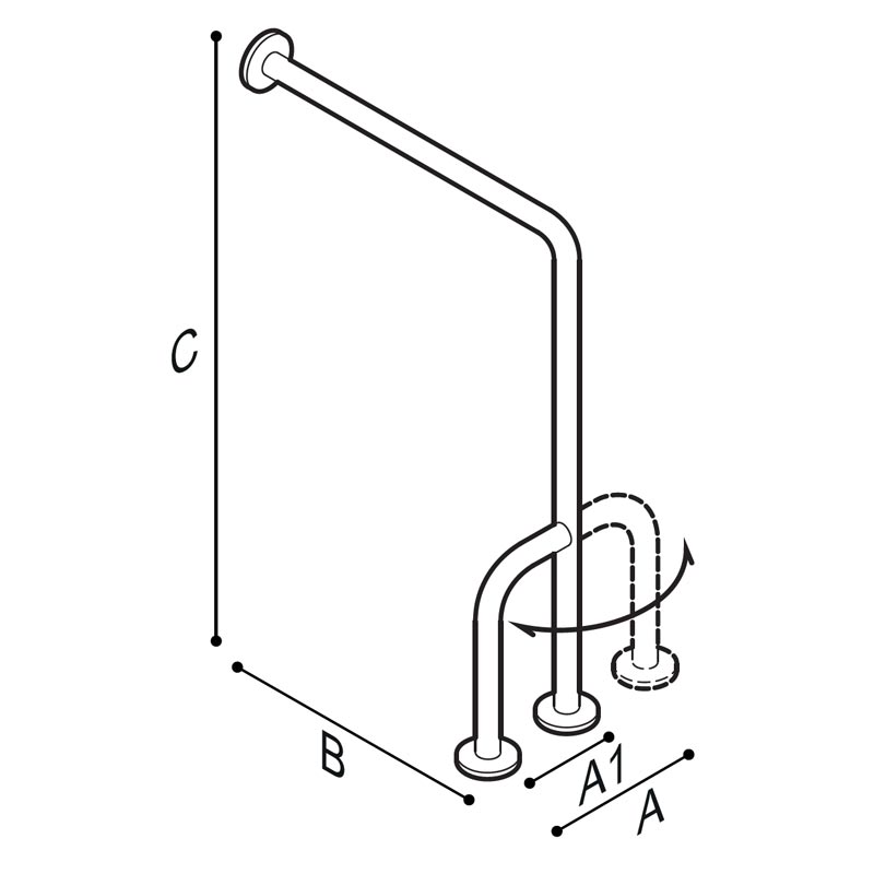Draw Safety grab bar, wall to floor Technical Drawing G55JCS38